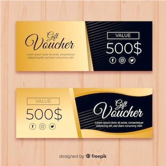 Elegant gift voucher with golden style