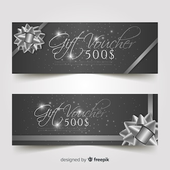Elegant gift voucher with silver style