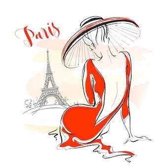 Элегантная девушка в шляпе в париже. стильная модель.