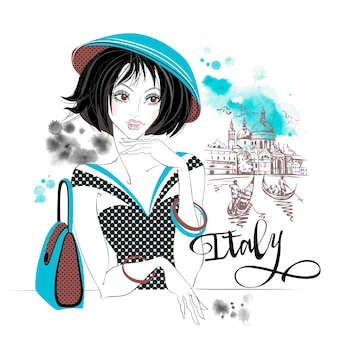 Elegant girl in italy. venice.travel. vector. watercolor stains.