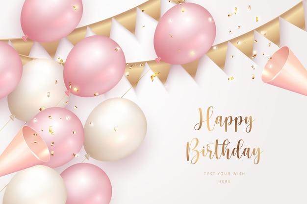 Elegant girlsih pink ballon happy birthday celebration party popper and ribbon decoration