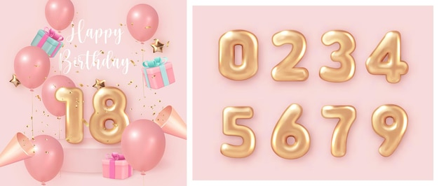 Elegant girlsih pink ballon happy birthday celebration present gift box party popper and set of golden numer text