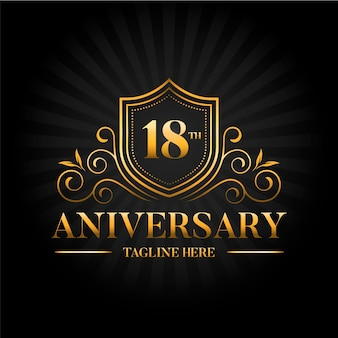 Elegant gold 18th anniversary logo template