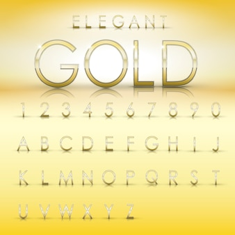 Элегантная коллекция золотых алфавитов и цифр на желтом фоне Premium векторы