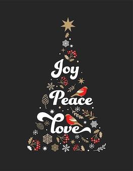 Элегантная золотая и черная рождественская елка с элементами xmas. Premium векторы