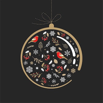 Elegant gold and black christmas ornament with xmas elements.
