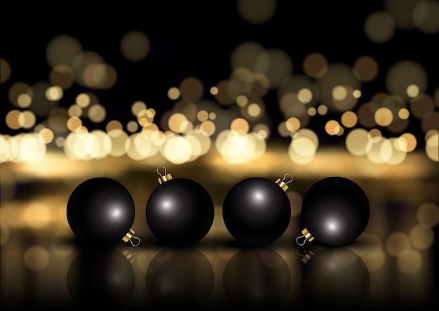 Elegante natale oro e nero con palline