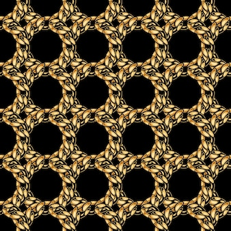 Elegant gold chain grid seamless pattern in style