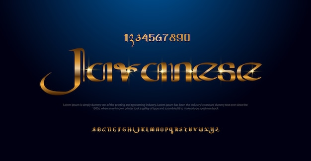 Elegant gold colored metal chrome alphabet font. typography classic style golden font