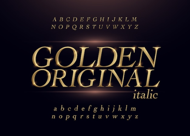 Elegant gold colored metal chrome alphabet italic font.
