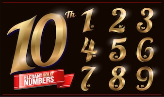 Elegant Gold Colored Metal Chrome numbers. 1, 2, 3, 4, 5, 6, 7, 8, 9, 10, logo