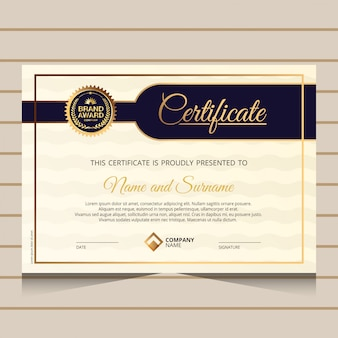 Elegant and gold diploma certificate template