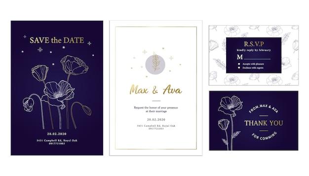 紫色の背景のウェディングカードテンプレートとエレガントな金の花