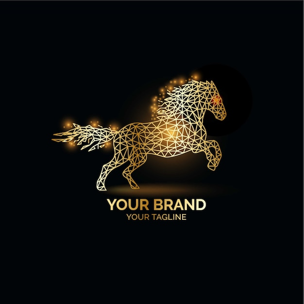 エレガントなゴールドの馬のロゴデザイン