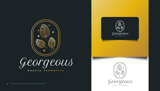 Elegant gold leaf logo in minimalist line style, for spa, cosmetics, beauty, florists and fashion