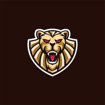 エレガントなゴールドのライオンの頭のロゴ