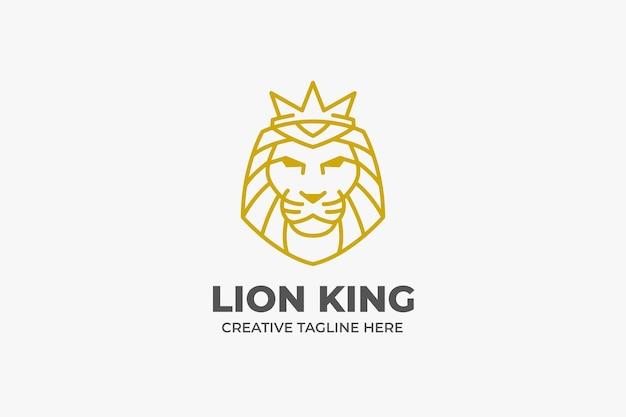 Elegant gold lion king head monoline logo