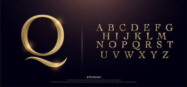 Elegant gold metal chrome uppercase alphabet font