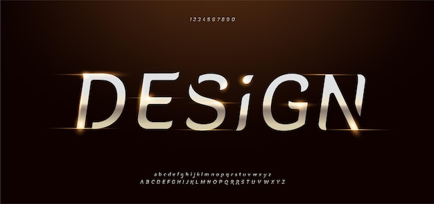 Elegant gold metal modern alphabet font set.