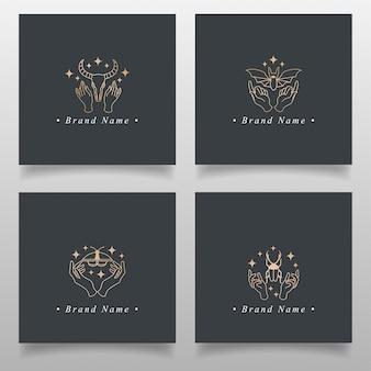 Elegant gold occult hand logo редактируемый шаблон простой дизайн