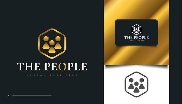 エレガントなゴールドピープルのロゴデザイン。人、コミュニティ、家族、ネットワーク、クリエイティブハブ、グループ、ソーシャルコネクションのロゴまたはビジネスアイデンティティのアイコン