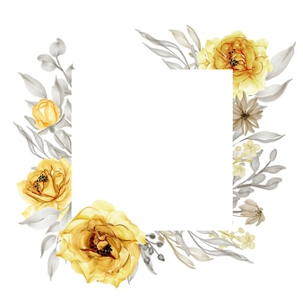 Elegant gold yellow rose flower frame watercolor