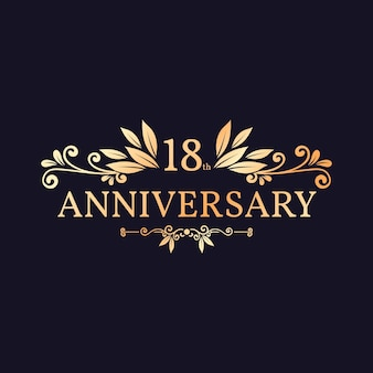 Elegant golden 18th anniversary logo