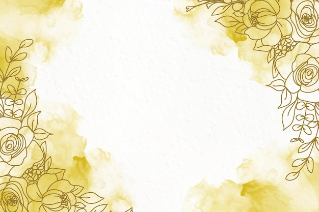 Elegant golden alcohol ink background with flowers