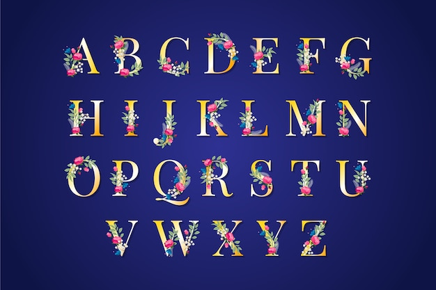 Elegant golden alphabet with flowers