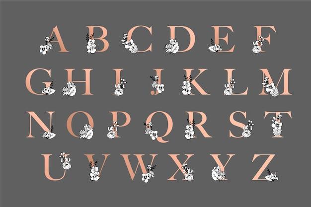 꽃과 우아한 황금 알파벳