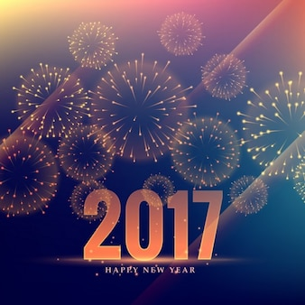 Elegant golden background of 2017 with fireworks