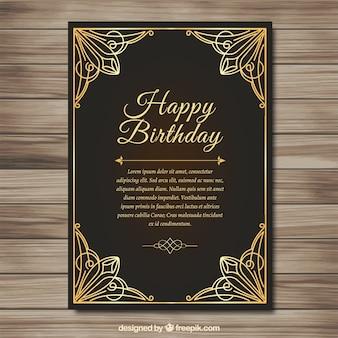 Elegant golden birthday card