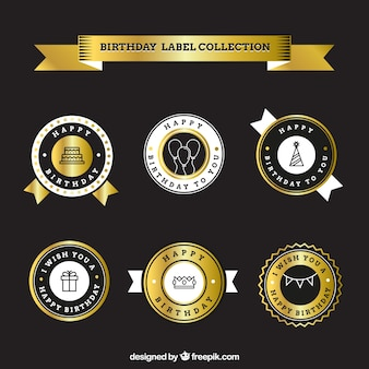 Elegant golden birthday stickers pack