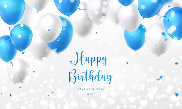 Elegant golden blue silver white ballon and party popper ribbon happy birthday celebration card banner template