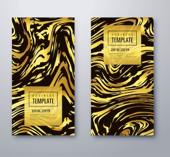 Elegant golden business template set with texture design