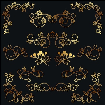 Elegant golden calligraphic ornament collection