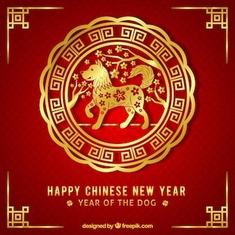 Elegant golden chinese new year background