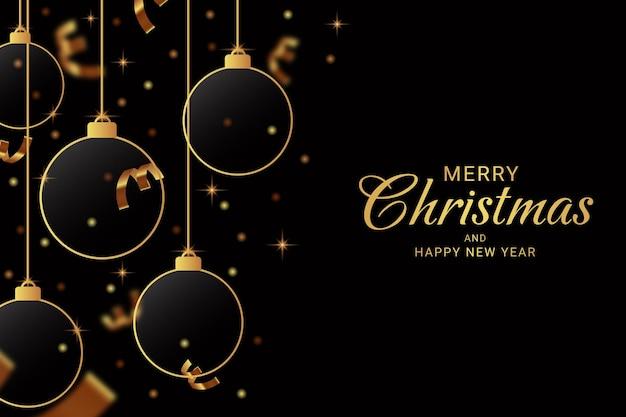 ガラスとリボンの背景にエレガントな黄金のクリスマスと新年あけましておめでとうございます