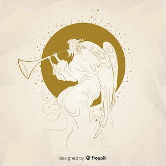 Elegant golden christmas angel background