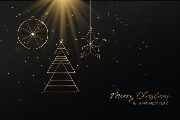 エレガントな黄金のクリスマスの背景