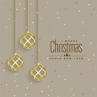 Elegant golden christmas balls premium background