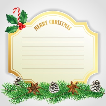 松ぼっくりとキャンディケインのエレガントなゴールデンクリスマスカード
