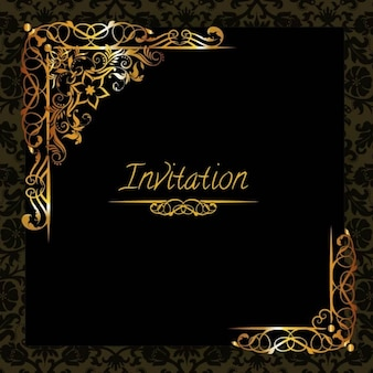 Elegant golden design invitation template