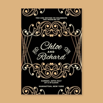 Elegant golden design wedding party invitation