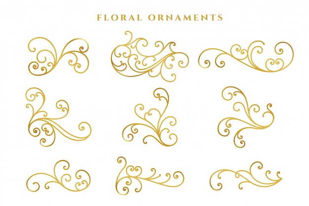 Elegant golden floral decoration big set