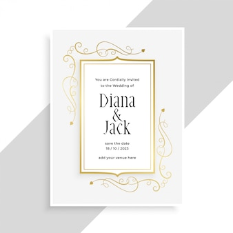Elegant golden floral frame wedding invitation card design