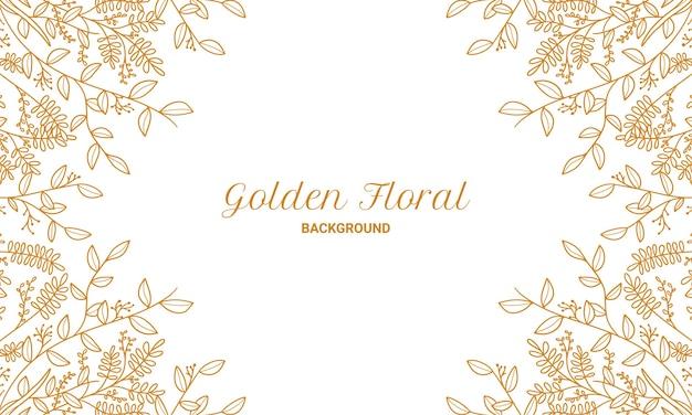 Элегантные золотые цветочные растения листья рисованной иллюстрации фона