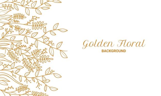 우아한 황금 꽃 식물 잎 손으로 그린 그림 배경