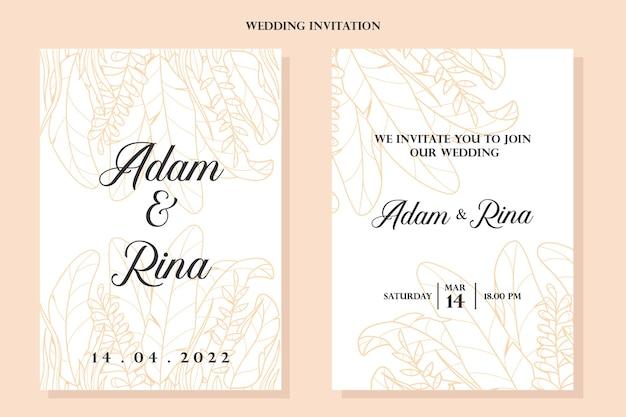 Элегантные золотые цветочные растения листья рисованной свадебные приглашения шаблон дизайна