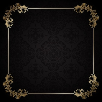 Elegant golden frame on a black background